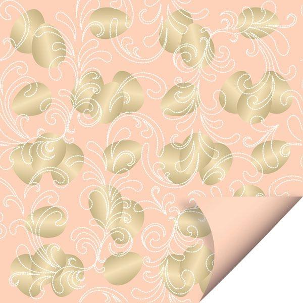 Folha para Embalar Ovos de Páscoa Double Face Ovos de Ouro Coral 69x89cm - 05 unidades - Cromus Páscoa - Rizzo Confeitaria