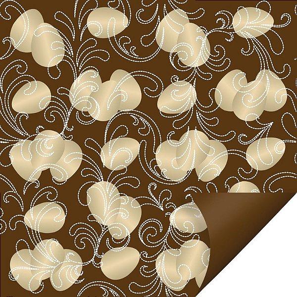 Folha para Embalar Ovos de Páscoa Double Face Ovos de Ouro Marrom 69x89cm - 05 unidades - Cromus Páscoa - Rizzo Confeitaria