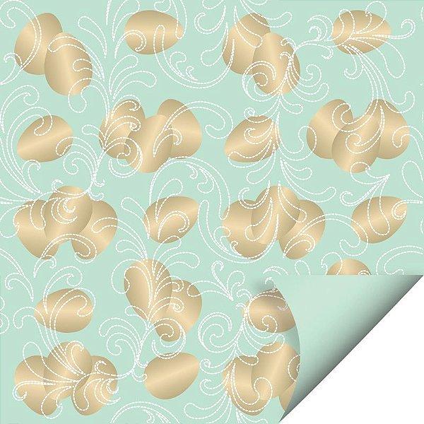 Folha para Embalar Ovos de Páscoa Double Face Ovos de Ouro Verde 69x89cm - 05 unidades - Cromus Páscoa - Rizzo Confeitaria