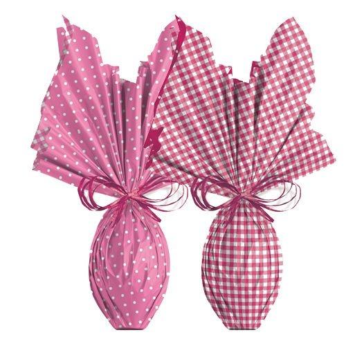 Folha para Embalar Ovos de Páscoa Double Face Xadrez Rosa 69x89cm - 05 unidades - Cromus Páscoa - Rizzo Confeitaria