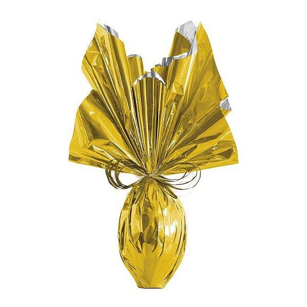 Folha para Embalar Ovos de Páscoa Metalizado Dourado 69x89cm - 05 unidades - Cromus Páscoa - Rizzo Confeitaria