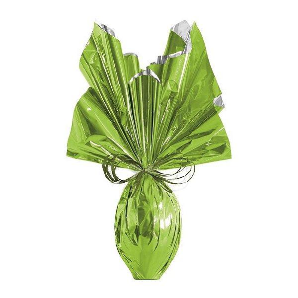Folha para Embalar Ovos de Páscoa Metalizado Verde Maçã 69x89cm - 05 unidades - Cromus Páscoa - Rizzo Confeitaria