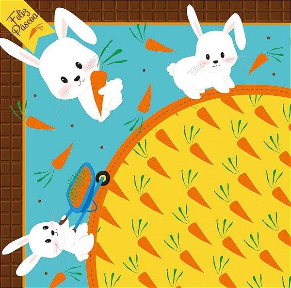 Saco Express para Ovos de 100g a 150g  - 24cm x 24cm - Hora da Cenoura Azul - 05 unidades - Cromus Páscoa - Rizzo Confeitaria