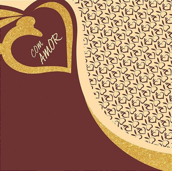 Saco Express para Ovos de 750g a 1Kg  - 49cm x 49cm - Golden Love - 05 unidades - Cromus Páscoa - Rizzo Confeitaria