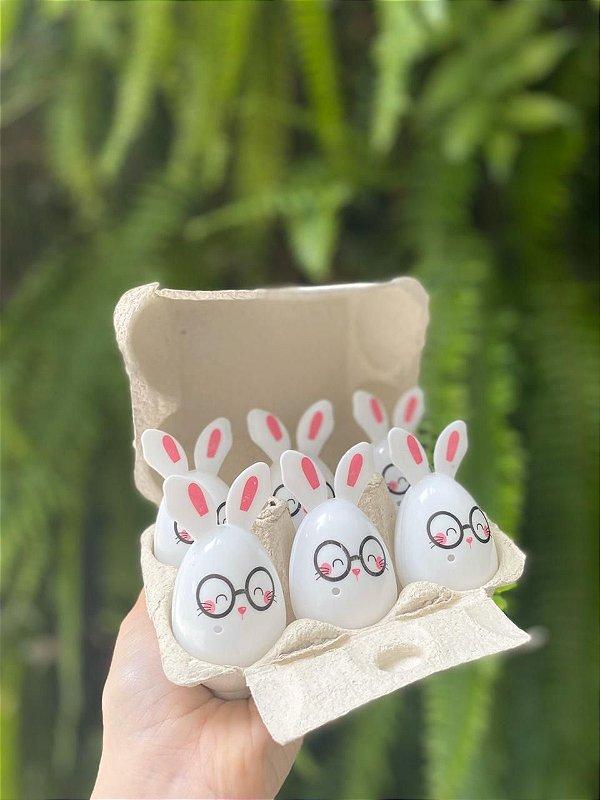 Mini Ovos de Plástico Coelho de Óculos - 6 unidades - 5x5x7cm - Cromus Páscoa - Rizzo Confeitaria