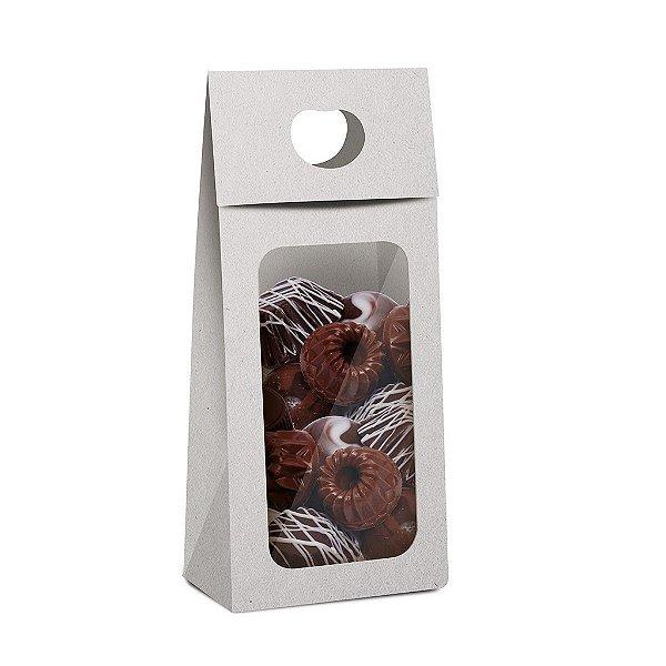 Caixa Plus para Chocolate com Visor Páscoa Branco - 10 unidades - 9x5,5x20cm - Cromus Profissional - Rizzo Confeitaria
