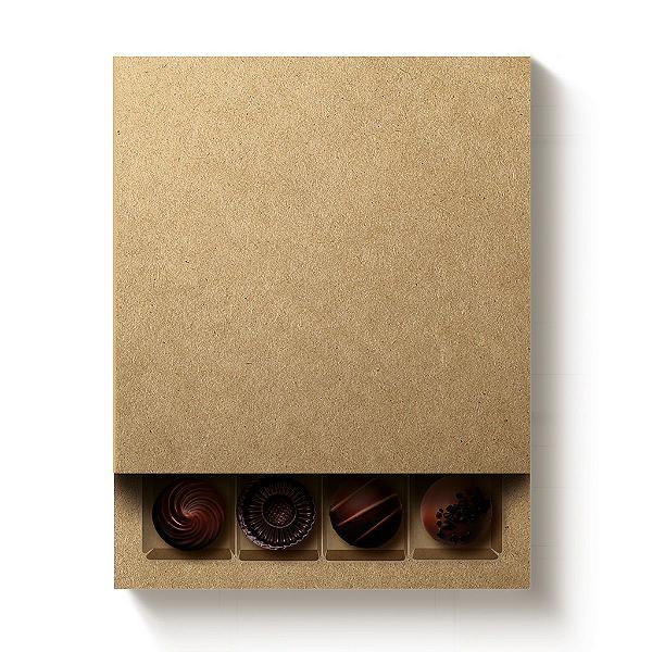 Caixa 16 Doces Quadrada Kraft com Luva - 10 unidades - 16,8x16,8x4cm - Cromus Profissional - Rizzo Confeitaria