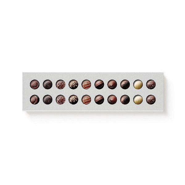 Caixa 20 Doces Retangular Branco com Luva Vazada - 10 unidades - 39x9,5x4cm - Cromus Profissional - Rizzo Confeitaria