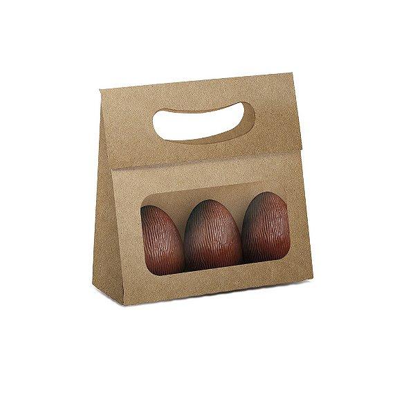 Mini Caixa Plus para Ovos com Visor Páscoa Kraft - 10 unidades - 13x5,5x13cm - Cromus Profissional