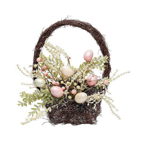 Cesta de Ovos de Páscoa - Decoração de Páscoa - 40cm x 30cm - Cromus Páscoa - Rizzo Confeitaria