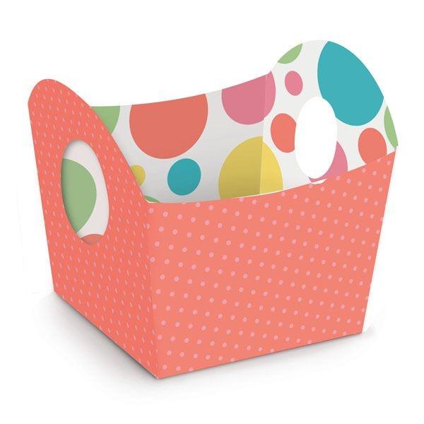 Cestinha de Páscoa Candy Colors Coral 8,5x9,5x8,5cm - 10 unidades - Cromus Páscoa - Rizzo Confeitaria