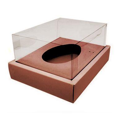 Caixa Ovo de Colher com Moldura - Meio Ovo de 350g - 23cm x 19cm x 10cm - Rosê - 5unidades - Assk - Páscoa Rizzo Confeitaria