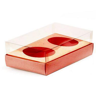 Caixa Ovo de Colher Duplo - Meio Ovo de 100g a 150g - 20cm x 13cm x 8,8cm - Rosê - 5unidades - Assk - Páscoa Rizzo Confeitaria