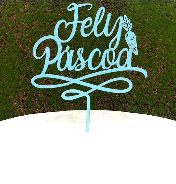 Topo de Bolo Feliz Páscoa Cenoura em MDF Glitter Azul Claro - Sonho Fino - Rizzo Confeitaria