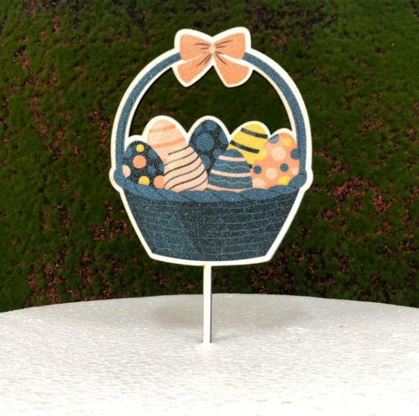Topo de Bolo Color Glitter Cestinha de Ovos - Sonho Fino - Rizzo Confeitaria