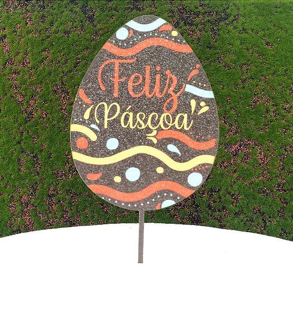 Topo de Bolo Color Glitter Ovo Chocolate Feliz Páscoa - Sonho Fino - Rizzo Confeitaria