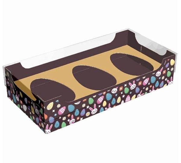 Caixa para 3 ovos de colher 50g - Encanto Ouro Kids Cód 2304 - 10 unidades - Ideia Embalagens Pascoa Rizzo Confeitaria