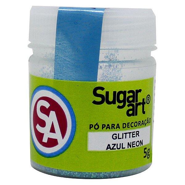Pó para Decoração Glitter Azul Neon 5g Sugar Art Rizzo Confeitaria