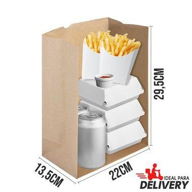 Saco Delivery Kraft - 22x13,5x29,5cm - 10 unidades - Ref 5799 - WMA