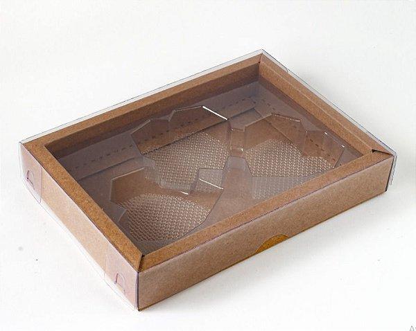Caixa  coração Lapidado de 70 à 100gr  3 cav Kraft com 5 un. Crystal Rizzo Confeitaria