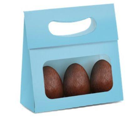 Mini Caixa Plus para Ovos com Visor Páscoa Jade- 10 unidades - 13x5,5x13cm - Cromus Profissional - Rizzo Confeitaria