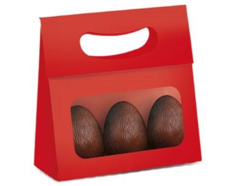 Mini Caixa Plus para Ovos com Visor Páscoa Vermelho- 10 unidades - 13x5,5x13cm - Cromus Profissional - Rizzo Confeitaria