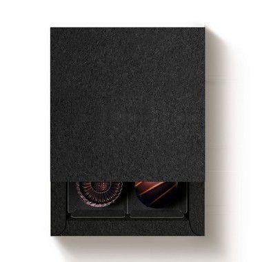Caixa 4 Doces Quadrada Preto com Luva - 10 unidades - 9,5x9,5x4cm - Cromus Profissional