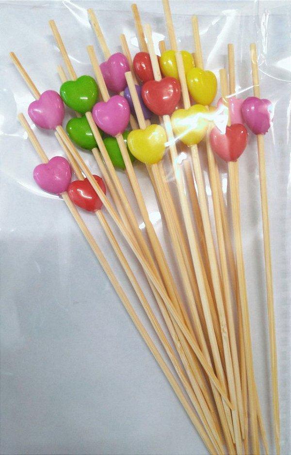 Palito Petiscos Coração Colorido de Bambu 12cm - 20 unidades - Silver Festas Rizzo Confeitaria