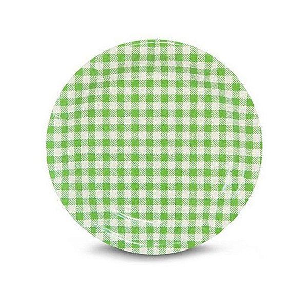 Prato de Papel Xadrez Verde -18 cm - Festa Junina - 08 unidades - Kaixote - Rizzo