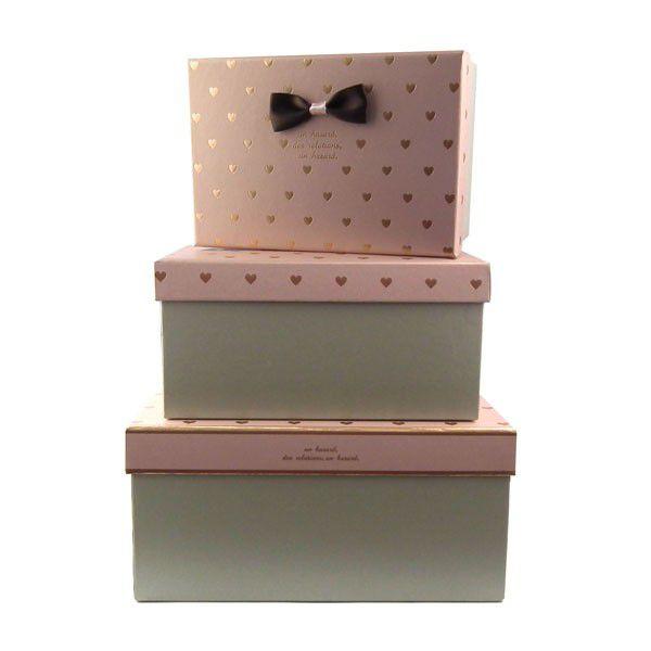 Conjunto Caixas de Papel para Presente Corações - KIt 3 Unidades - Rizzo Confeitaria
