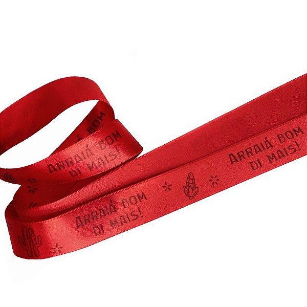 Fita de Cetim Vermelho Arraiá Bom Di Mais - 22mm - 10 metros - Progresso - Rizzo Confeitaria