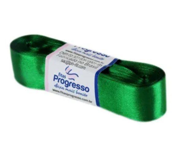 Fita de Cetim Progresso 22mm nº5 - 10m Cor 217 Verde Bandeira - 01 unidade - Rizzo Embalagens