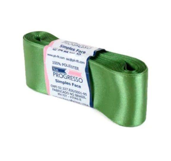 Fita de Cetim Progresso 38mm nº9 - 10m Cor 249 Verde Militar - 01 unidade - Rizzo Embalagens
