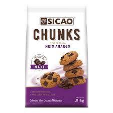 Cobertura Chunks Em Pedaços Sabor Chocolate Meio Amargo 1,01kg Sicao Rizzo Confeitaria
