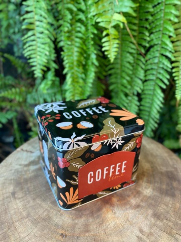 Lata Porta Capsulas Metal Coffee Flowers Preto 15x15x12,5cm Ref.44424 Rizzo Confeitaria
