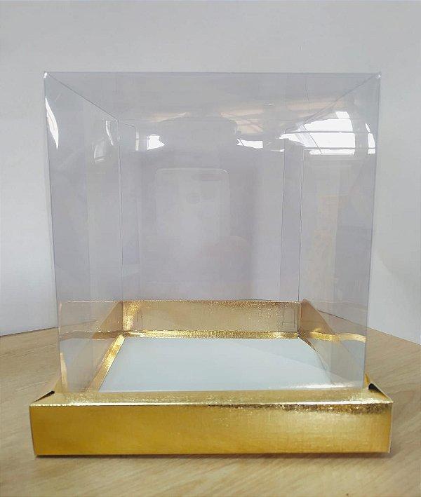 Caixa para Bolo Alta - Dourado - 17x17x20cm - 5 unidades - ASSK - Rizzo Confeitaria
