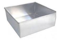 Forma de Alumínio Quadrada Fixa - 35x35x10cm - Ref:5003 - Macedo - Rizzo Confeitaria