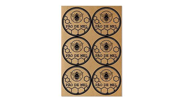 Etiquetas Artesanais Pão de Mel - Kraft - 4cm - 12 unidades - Rizzo Confeitaria
