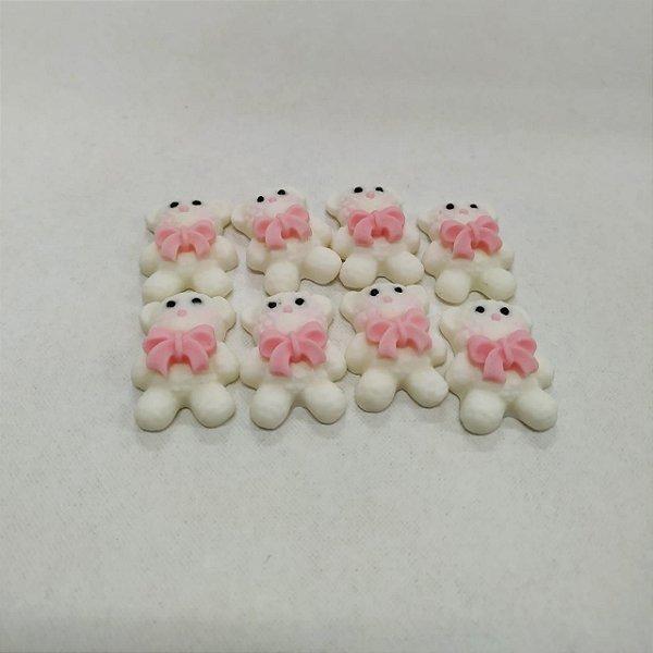 Confeitos Comestíveis Urso Branco c/ Laço Rosa - Flores e Encantos de Açúcar - Rizzo Confeitaria