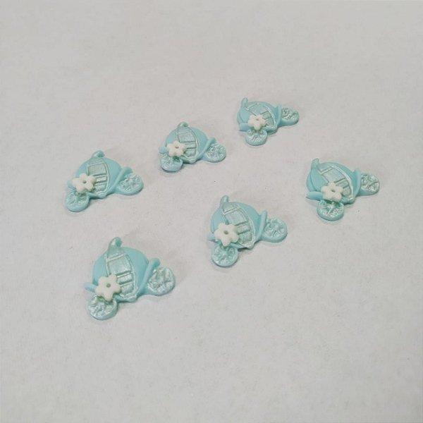 Confeitos Comestíveis Carroagem Cinderela Azul  - Flores e Encantos de Açúcar - Rizzo Confeitaria