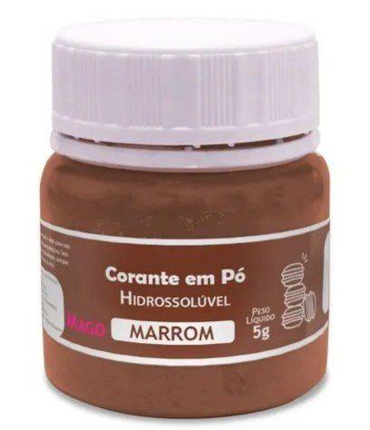 Corante em pó Hidrossolúvel - Marrom - 5g - Mago - Rizzo Confeitaria