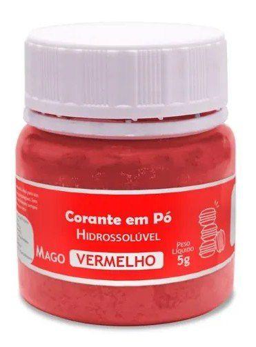 Corante em pó Hidrossolúvel -Vermelho - 5g - Mago - Rizzo Confeitaria