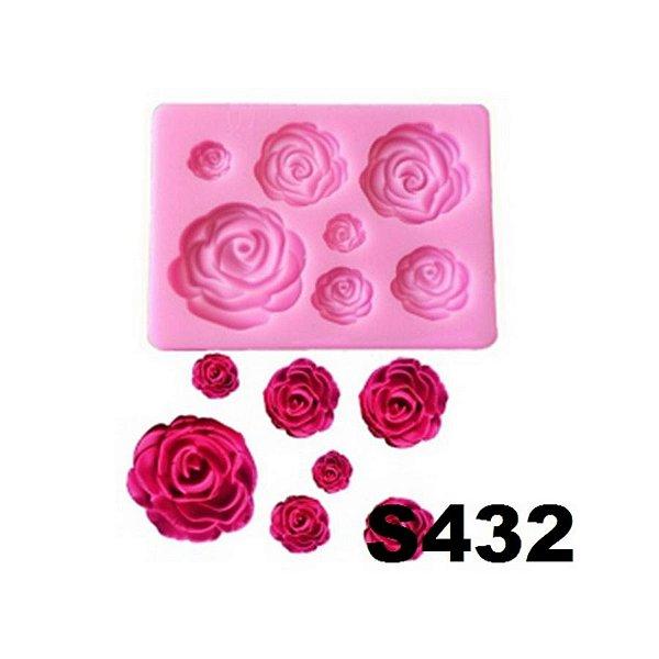 Molde de silicone Rosas S432 Molds Planet Rizzo Confeitaria