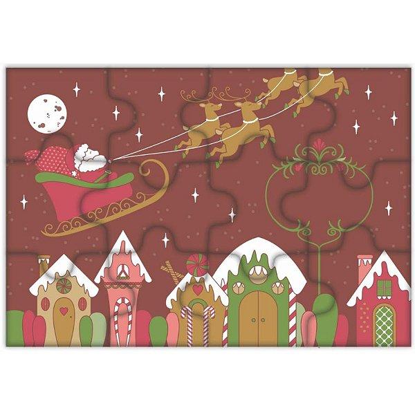 Blister Decorado com Transfer para Chocolate Quebra Cabeça de Natal BLN0078 Stalden Rizzo Confeitaria
