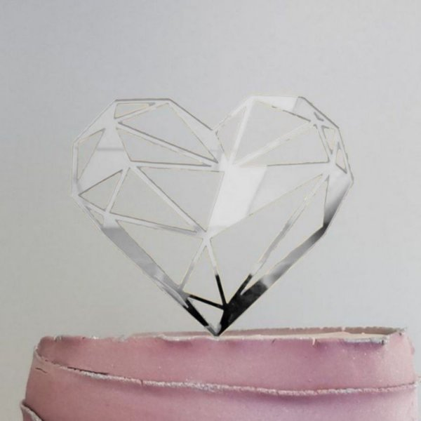Topo de Bolo Coração Geométrico Glitter Prata Sonho Fino Rizzo Confeitaria