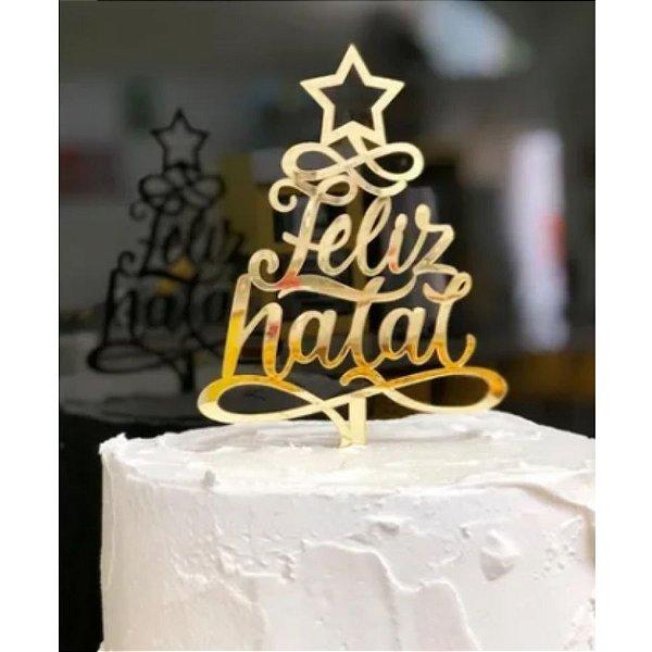 Topo de Bolo Feliz Natal Espelhado Dourado Sonho Fino Rizzo Confeitaria