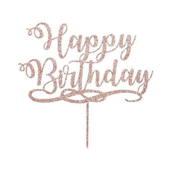 Topo de Bolo Happy Birthday Glitter Rose Gold Sonho Fino Rizzo Confeitaria