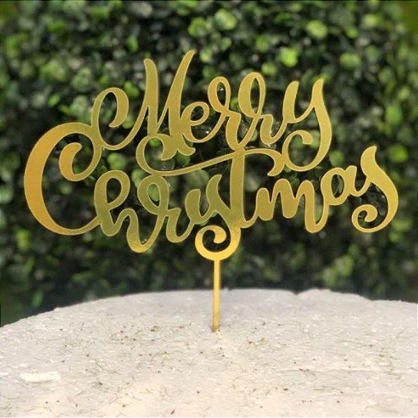 Topo de Bolo Natal Merry Christmas Espelhado Dourado Sonho Fino Rizzo Confeitaria
