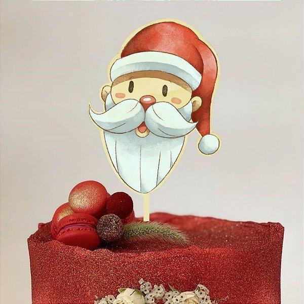 Topo de Bolo Natal Papai Noel Glitter Sonho Fino Rizzo Confeitaria