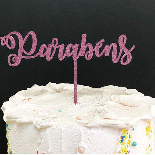 Topo de Bolo Parabéns Glitter Rosa Claro Sonho Fino Rizzo Confeitaria